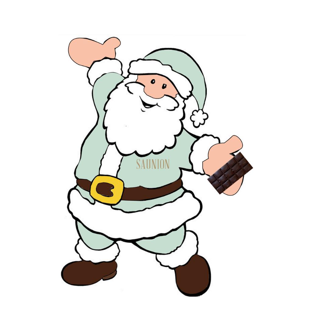 Père Noël Saunion tenant une tablette de chocolat noir.